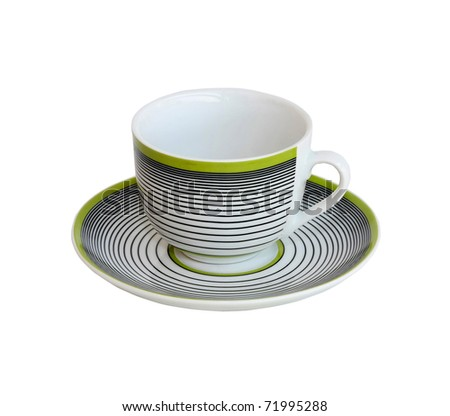 Small coffee cup with stripes pattern and clipping path included