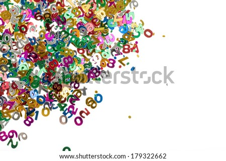 small color numbers confetti isolated on white background