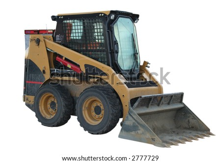 small construction machinery with shovel isolated on white