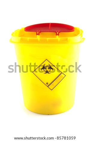 Small container which contains biohazard goods - stock photo
