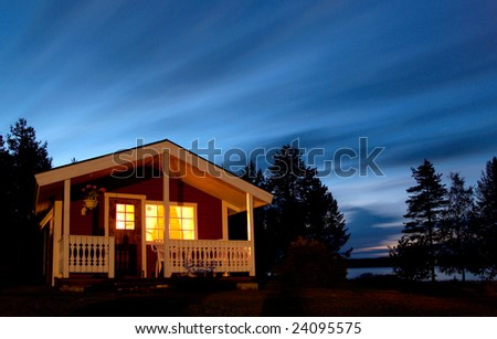 Small cottage at night