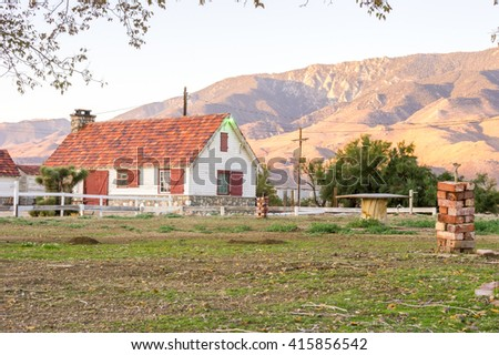 Small cottage house in the Death Valley area. - stock photo