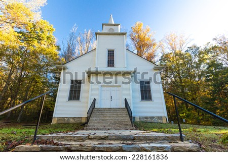 Small, Country Church in rural North Carolina during the fall. - stock photo