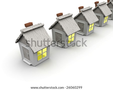 Small country house with shone windows on a white background - stock photo