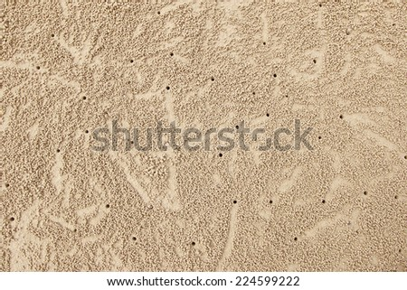 Small crab holes on the Sand - stock photo