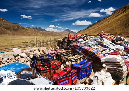 Small crafts market at Abra la Raya in Puno, Peru, 4.338m above - stock photo