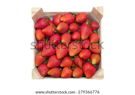 Small crate filled with garden strawberries on a white background - stock photo