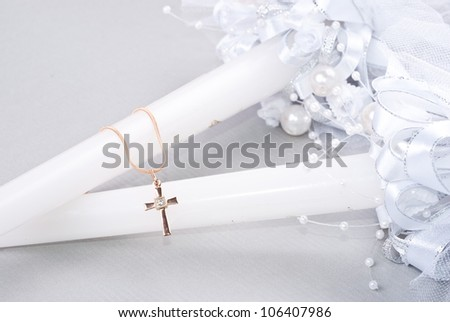 small crucifix on chain - stock photo