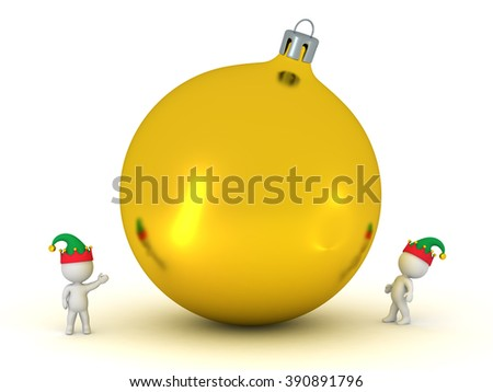 Small 3D characters with elf hats looking up at a large decorative globe. Isolated on white background.