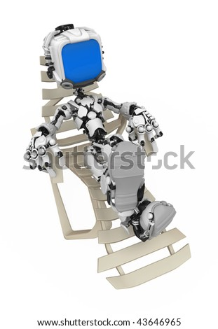Small 3d robotic figure relaxing, over white, isolated