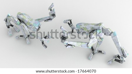 Small 3d Walker Robots, isolated