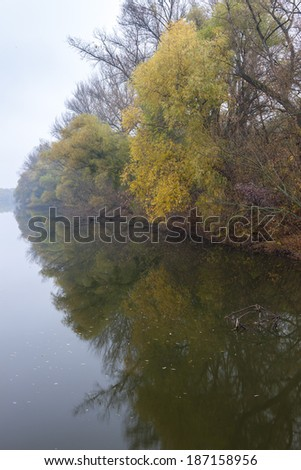 Small Danube river in autumn, Slovakia