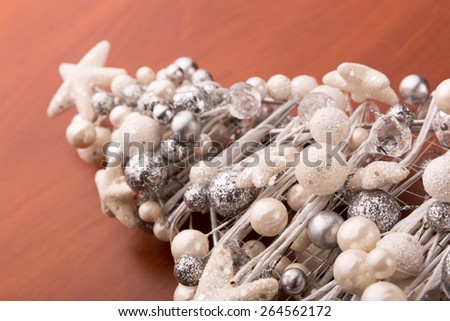 Small decorative christmas tree closeup - stock photo