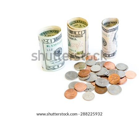 Small denomination US dollars banknote and coins on white background. Concept for tipping, cash reward concept. Currency, business and finance concept. Copy space. - stock photo