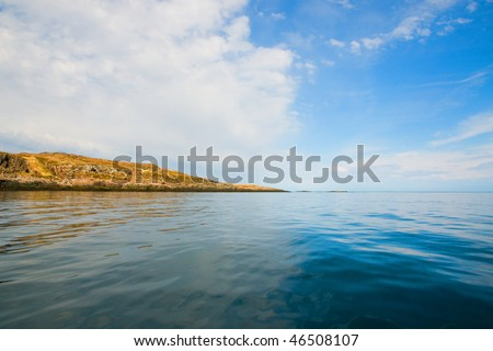 small desert islands of the russian north - stock photo