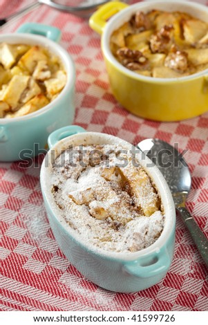 Small dessert with apple,walnut and cinnamon baked in the oven