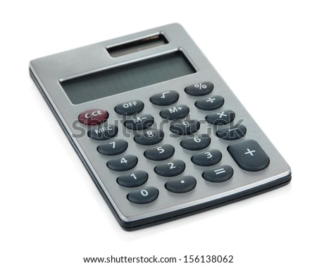 Small digital calculator isolated on white