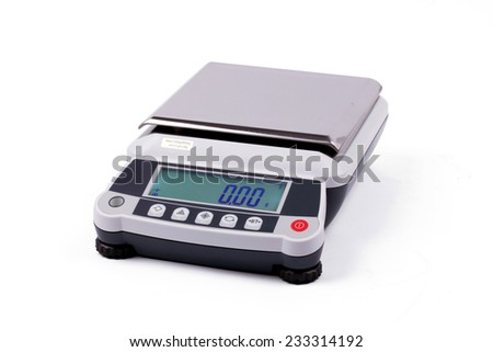 small digital weights scales,electronic scales isolated on white background  - stock photo