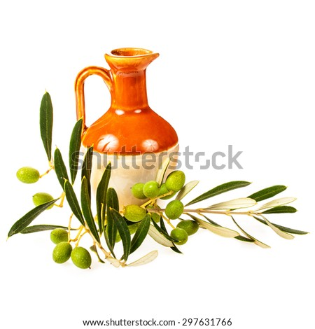 small earthenware jug with olive oil decorated with green olive branches with olives Isolated on white background - stock photo