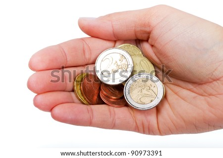 Small euro change in female hand isolated on white - stock photo