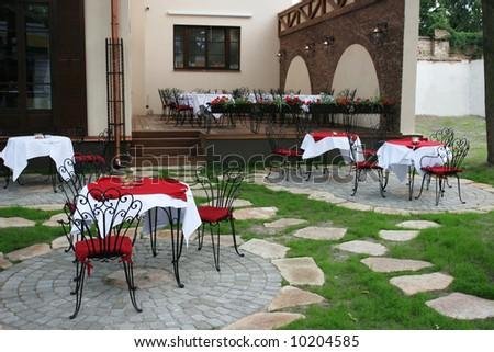 Small european coffee shop - stock photo
