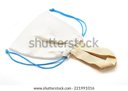 small fabric pouch isolated on white background