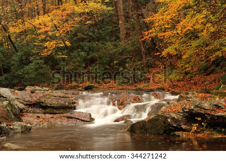 Small falls along the Little River, Great Smokey Mountains National Park, Tennessee - stock photo