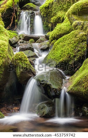 Small falls in the mountains along the Sol Duc Falls trail in Washington. - stock photo