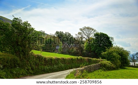 Small  farm  in the  Lake District National Park,  Cumbria, England, UK.  - stock photo