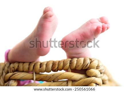 Small feet of newborn baby  - stock photo