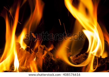 small fire with bright red flames of burning wood - stock photo