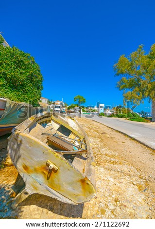 small fishing boat out of the sea in Spetses island in Greece - stock photo