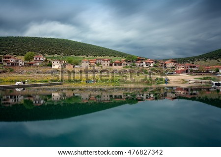 Small fishing village on Lake Prespa, Florina, Greece. Long exposure shot