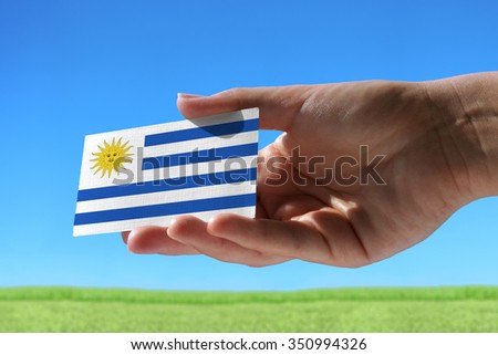 Small flag of Uruguay against beautiful landscape with grass - stock photo
