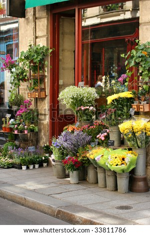 Small flower shop - stock photo