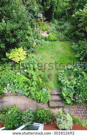 Small garden taken from above - stock photo
