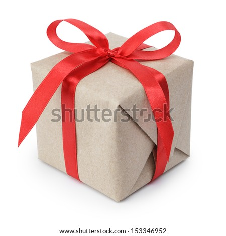 small gift box wraped in recycled paper with ribbon bow, isolated - stock photo