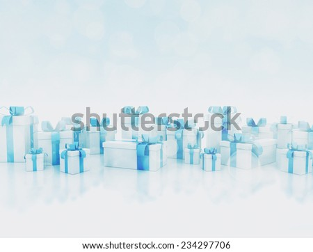 Small gift boxes in shiny blue night  - stock photo