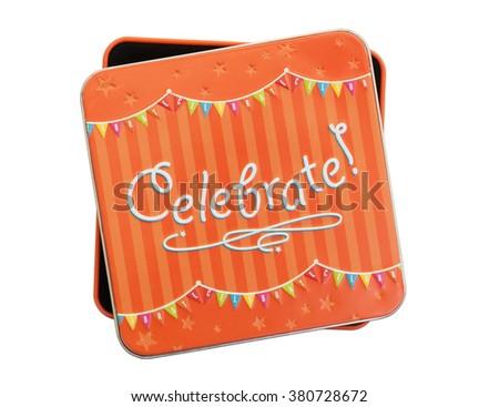 Small gift: Celebration box isolated over white background - stock photo