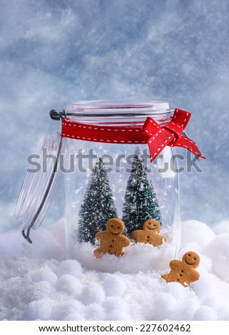 Small gingerbread biscuits in glass cookie jar for Christmas