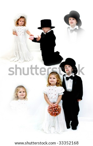 Small girl and boy dress in wedding gown and tuxedo.  She is wearing a hat and veil and he a top hat.  They are standing in a all white room.