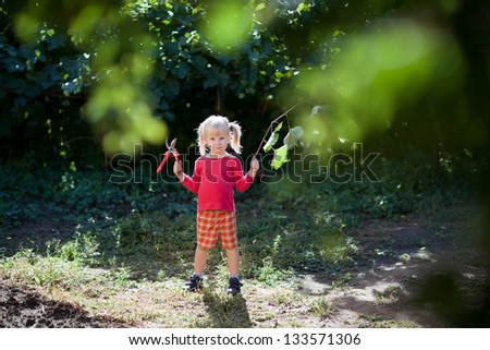 small girl helps to cut leaves with secateurs