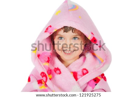Small girl portrait in bathrobe isolated on white