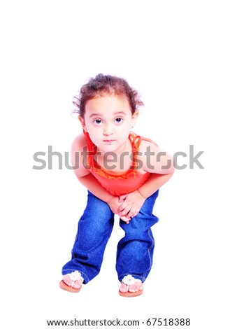 Small girl posing for the camera isolated on white