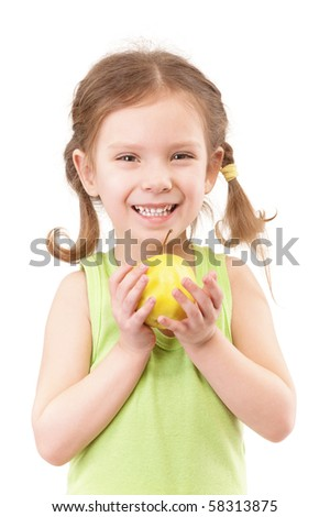 Small girl with green apple, isolated on white background.