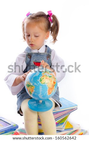 small girls and books - stock photo