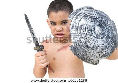 small gladiator fending off an imaginary attack isolated on white