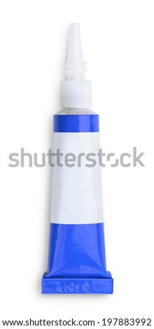 Small glue tube isolated on white - stock photo