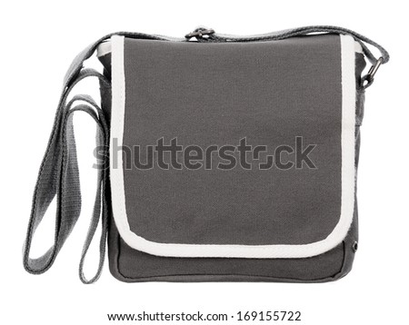 Small gray sport bag isolated on white - stock photo