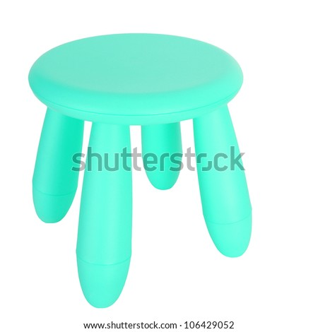 Small green plastic chair isolated on white